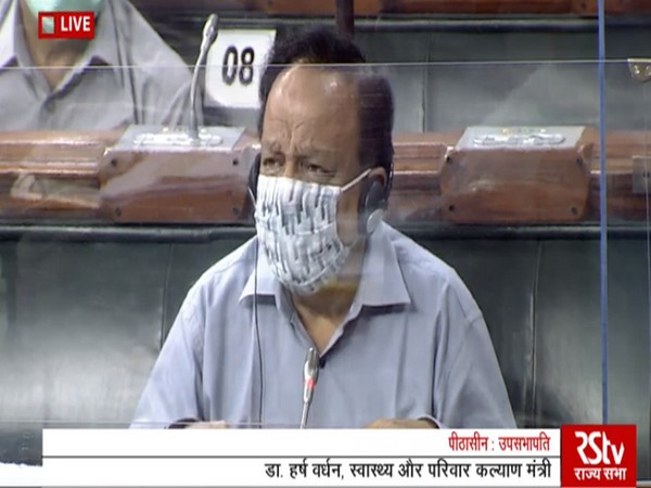 Union Health Minister Dr Harsh Vardhan speaking in the Rajya Sabha on Saturday.