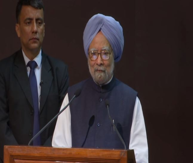 Former Prime Minister Dr Manmohan Singh speaking at the National Conclave on Economy in New Delhi on Friday. Photo/ANI