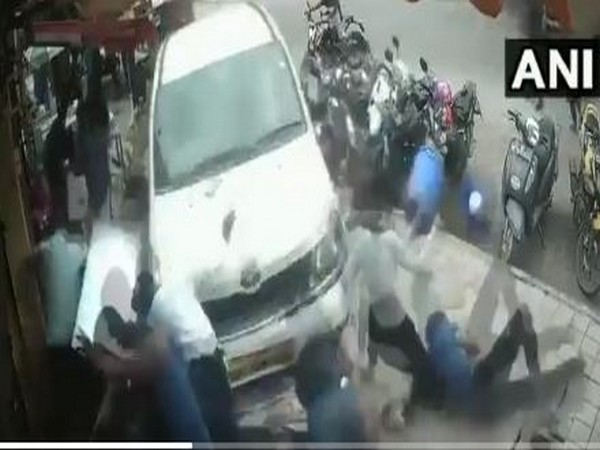 Drunk driver drove his car onto a pavement in Bengaluru. (Photo/ANI)