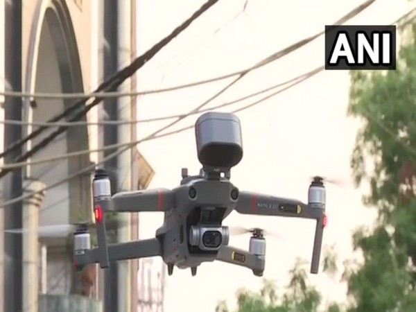 The drone that is being used to do surveillance in Mehrauli. Photo/ANI