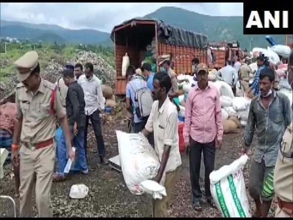 Visakhapatnam Police destroying seized drugs on Friday. (Photo/ANI)