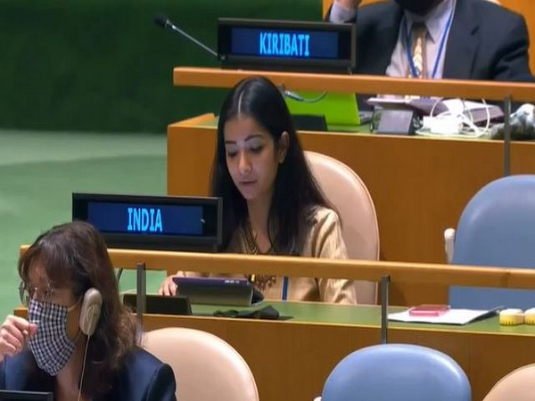 First Secretary, Sneha Dubey at UNGA. (ANI)