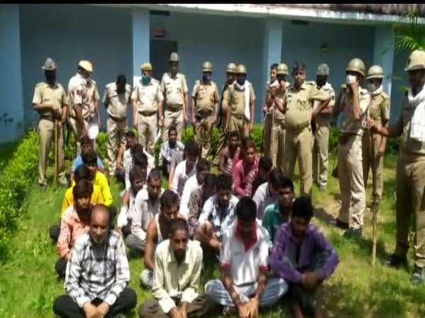 Some of the accused arrested by Rajasthan Police in connection with Dungarpur violence. [Photo/ANI]