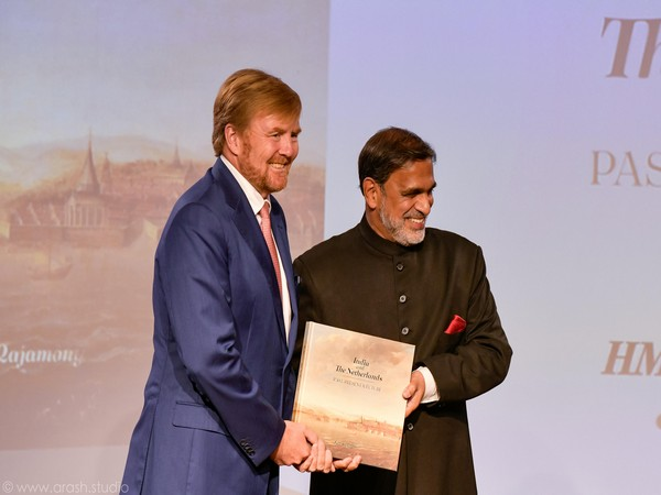 Dutch King Willem-Alexander and Indian Ambassador to the Netherlands Venu Rajamony at the book launch in Amsterdam on Monday.