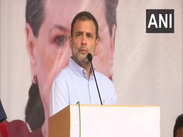 Congress leader Rahul Gandhi addressing party office bearers sammelan in Trikuta Nagar, Jammu on Friday. [Photo/ANI]