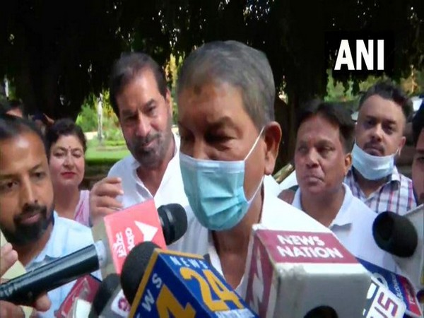 Punjab Congress in-charge Harish Rawat speaking to reporters in Chandigarh on Tuesday. [Photo/ANI]