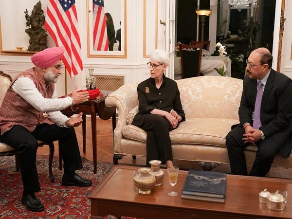 India's Ambassador to the United States Taranjit Singh Sandhu, Indian Foreign Secretary Harsh V Shringla and United State's Deputy Secretary of State Wendy Sherman at India House