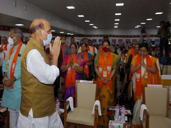 Defence Minister Rajnath Singh at Gujarat State BJP Executive meeting in Kevadia. (Photo/Twitter)
