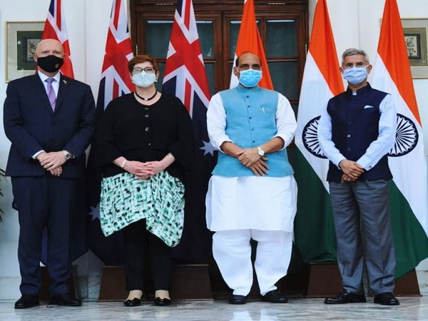 Defence Minister Rajnath Singh, External Affairs Minister S Jaishankar, Australian Foreign Minister Marise Payne and Australia Defence Minister Peter Dutton