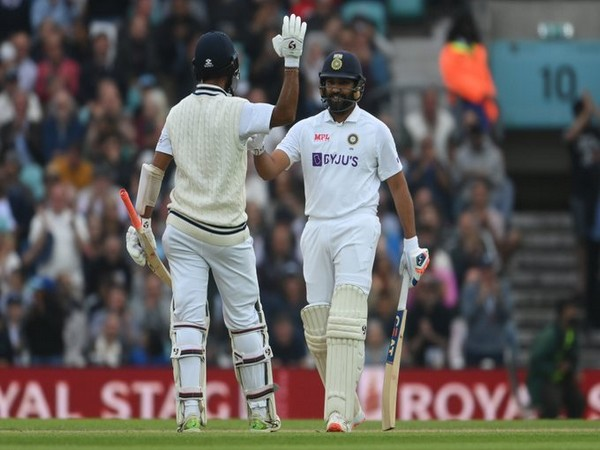 Pujara and Rohit in action (Photo/ BCCI Twitter)