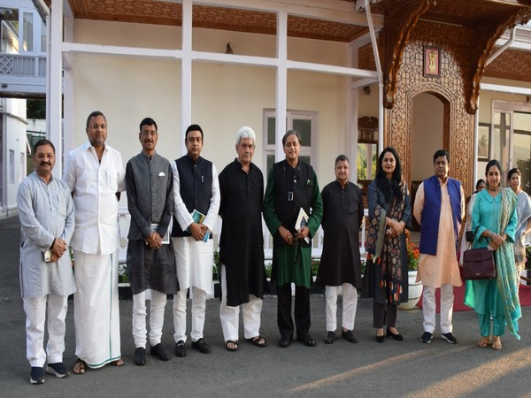 J-K LG Manjoy Sinha meets members of the Parliamentary Standing Committee on Information Technology at Raj Bhavan.