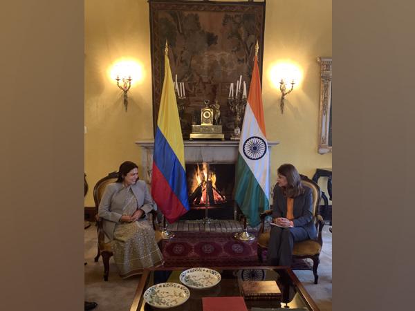Meenakashi Lekhi meeting Marta Lucia Ramirez on Monday. [Image: Twitter@M_Lekhi]