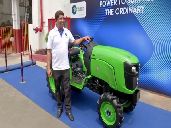 The e-tractor was launched in Hyderabad, Telangana on Wednesday. Photo/ANI