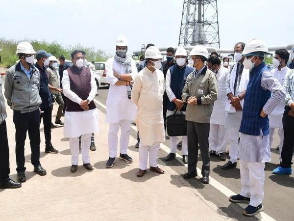 Union Minister Dharmendra Pradhan reviews the Bharat Oman Refinery Ltd. (Photo/ANI)