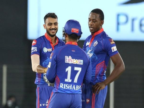 Axar Patel celebrates after taking wicket against KKR (Photo/ IPL Twitter)