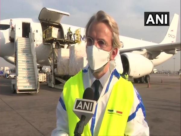 French Ambassador to India Emmanuel Lenain speaking to ANI on Sunday. (Photo/ANI)