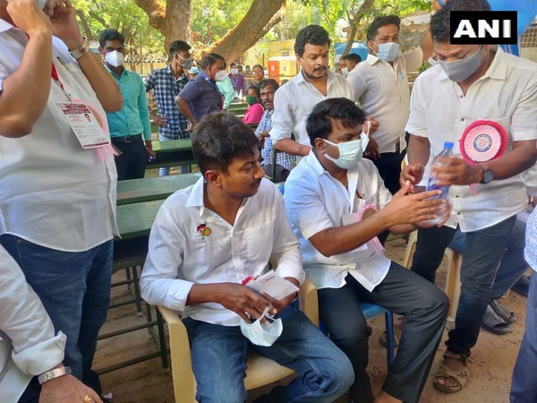 Udhayanidhi Stalin at Queen Mary's College in Chennai where counting for Tamil Nadu Assembly Polls is in progress