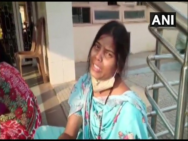 A woman crying outside Chamrajnagar hospital. (Photo.ANI)