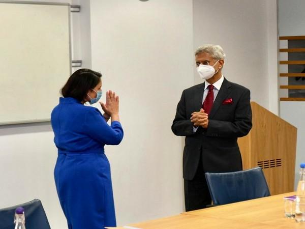 External Affairs Minister S Jaishankar with UK Home Secretary Priti Patel. (Credit: S Jaishankar/Twitter)