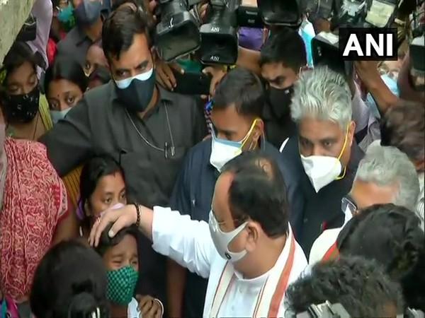 BJP chief JP Nadda in South 24 Parganas. (Photo/ANI)