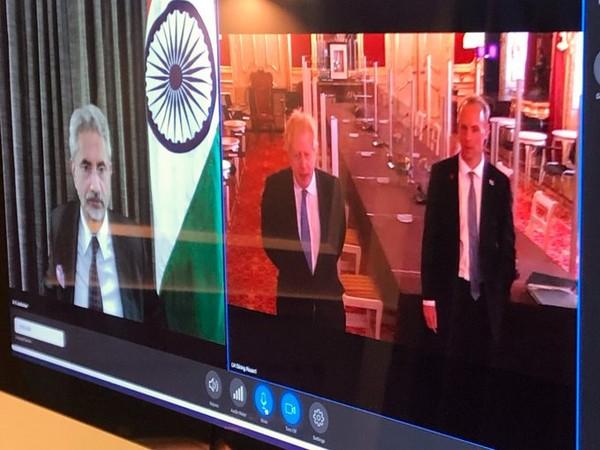External Affairs Minister S Jaishankar with UK Prime Minister Boris Johnson and Foreign Secretary Dominic Raab at G7 foreign ministers' meeting (Credit: S Jaishankar/Twitter)