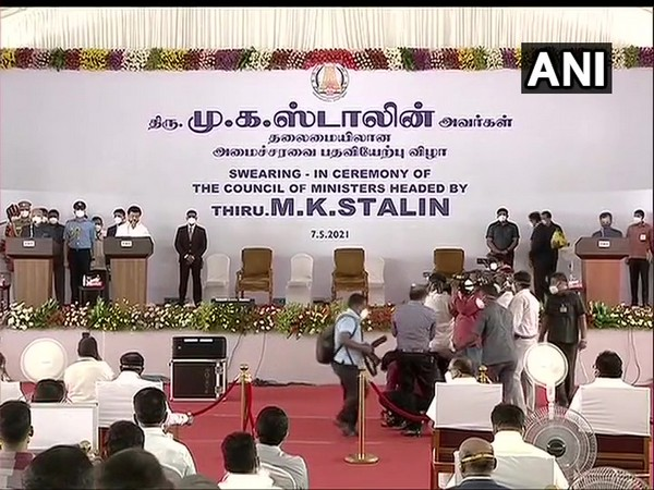 MK Stalin taking oath as Tamil Nadu Chief Minister.