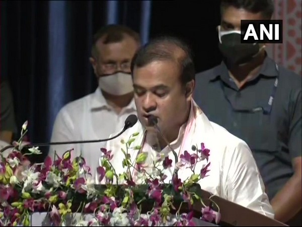 Assam Chief Minister Himanta Biswa Sarma taking the oath. (Photo/ANI)