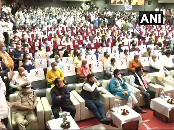 Leaders attending oath taking ceremony of Himanta Biswa Sarma. (Photo/ANI)