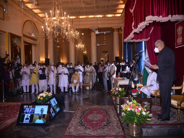 West Bengal Governor Jagdeep Dhankhar administered the oath to 43 TMC leaders as Cabinet Ministers on Thursday in Kolkata.