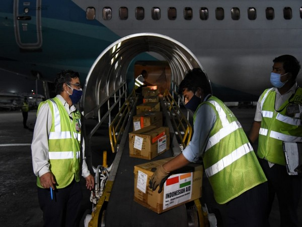 A consignment of medical supplies from Indonesia reaches Delhi Airport