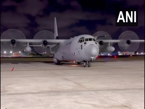 The IAF aircraft arriving at the Chennai Airport. (Photo/ANI)