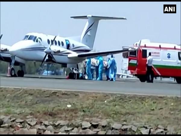 A visual of air ambulance from Bengaluru airport (Photo/ANI)