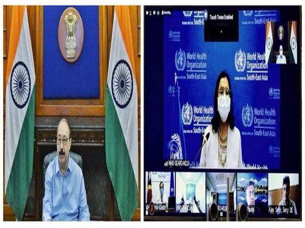 Foreign Secretary Harsh Shringla speaking at WHO's