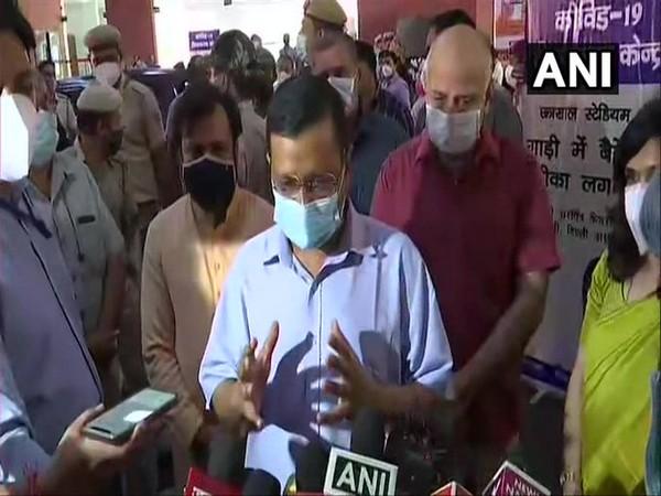 Delhi Chief Minister Arvind Kejriwal speaks to reporters in Delhi. (Photo/ANI)