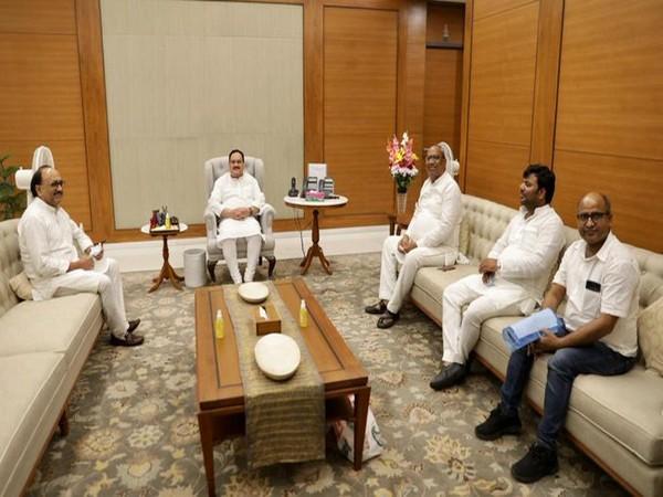 Nadda meets Nishad party chief ahead of 2022 UP polls (Photo/ANI)