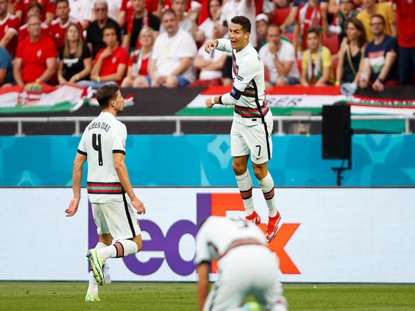 Cristiano Ronaldo celebrates a goal against Hungary. (Photo: Twitter/Selecao Portugal)