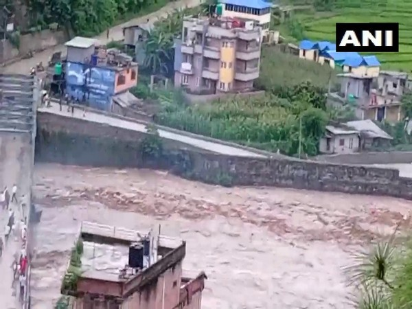 Visual from flood in Sindhupalchok district. (Photo/ANI)