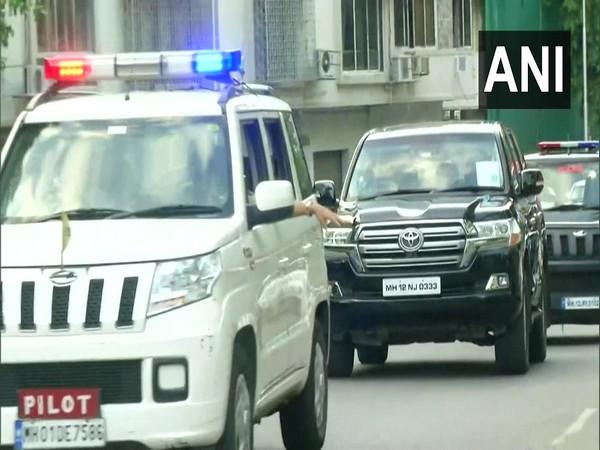 Visuals of NCP chief Sharad Pawar's convoy reaching 'Varsha' in Mumbai (ANI)