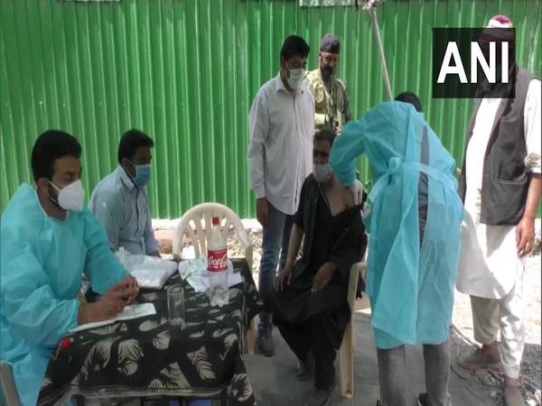 Covid-19 vaccination camp at Boniyar, Uri (Photo/ANI)