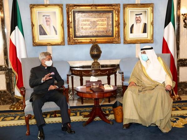 EAM Jaishankar meeting with Kuwait Prime Minister Sheikh Sabah Khaled Al-Hamad Al-Sabah on Thursday. (Photo: Twitter handle of EAM)