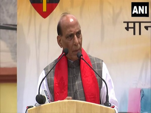 Defence Minister Rajnath Singh speaking in Leh on the first of his three-day visit. (Photo/ANI)