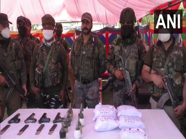 The recovered arms, ammunition and drug in J-K's Baramulla (Photo/ANI)