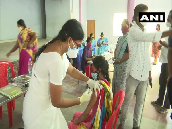 Visual from the COVID-19  vaccination drive in Andhra Pradesh. (Photo/ANI)