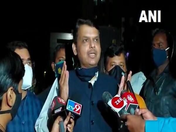 BJP leader Devendra Fadnavis speaking to reporters in Pune. (Photo/ANI)