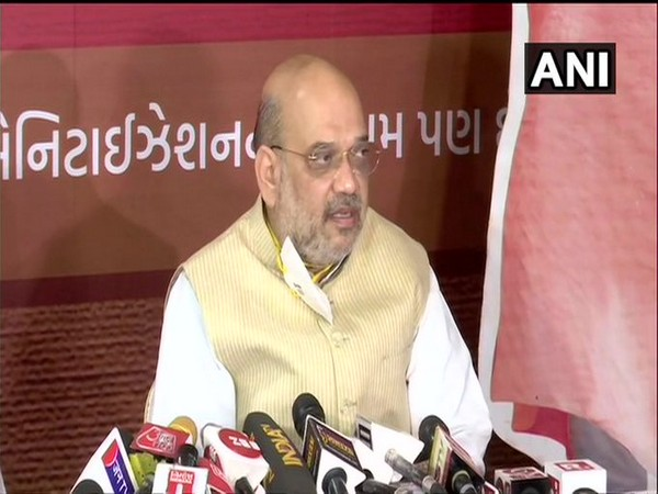 Amit Shah speaking to reporters in Ahmedabad on Monday. [Photo/ANI]