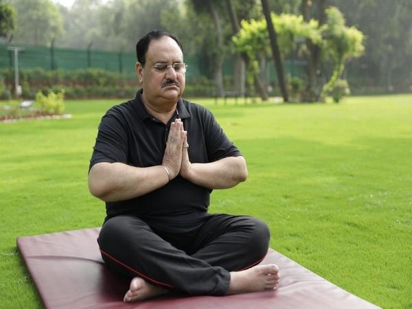BJP President JP Nadda performing Yoga at his residence