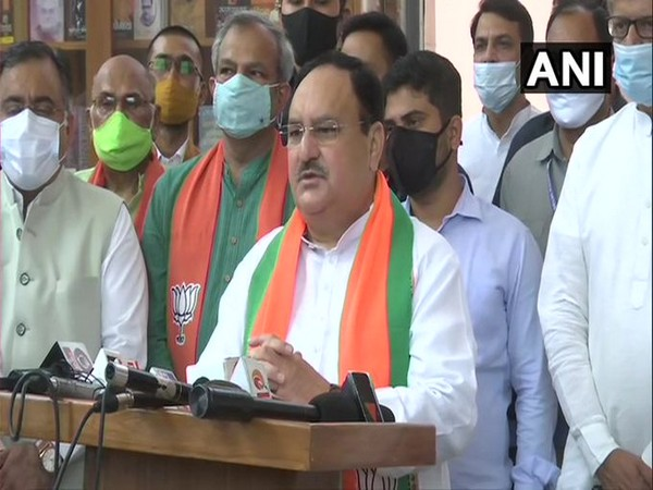 JP Nadda addressing at the BJP headquarters in Delhi on Wednesday. [Photo/ANI]