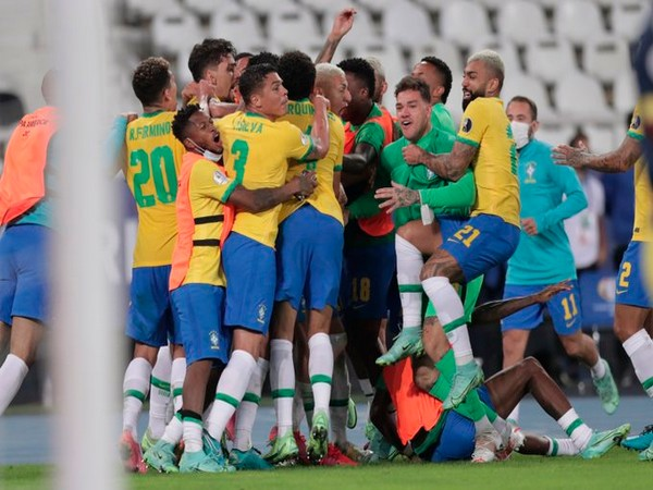 Brazil celebrate after defeating Colombia (Photo/ Copa America Twitter)