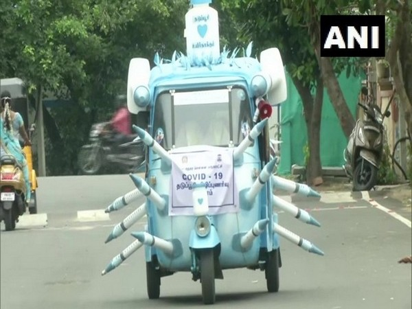 The special auto made by Chennai-based Goutham to spread vaccination awareness. (Photo/ANI)