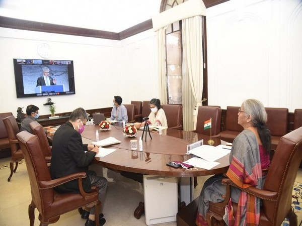 Finance Minister Nirmala Sitharaman attending the symposium virtually (Photo/Twitter)